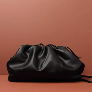 LYDIA BLACK POUCH BAG - PREMIUM LEATHER COLLECTION