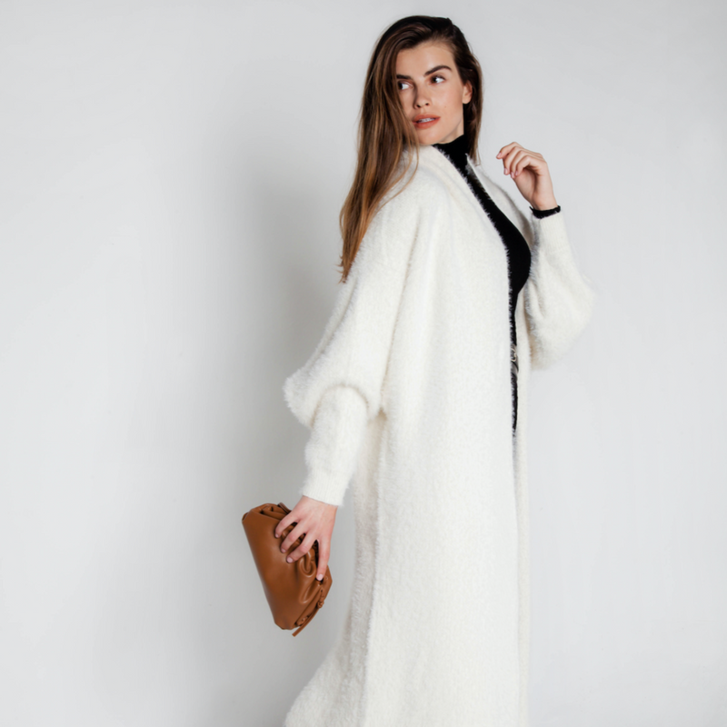 RE-EDITION - MONACO FAUX MINK CASHMERE OVERSIZED CARDIGAN MILK