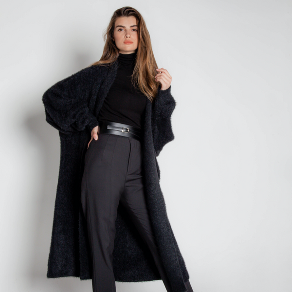 RE-EDITION - MONACO CASHMERE OVERSIZED CARDIGAN ONYX PREORDER 10 DAYS