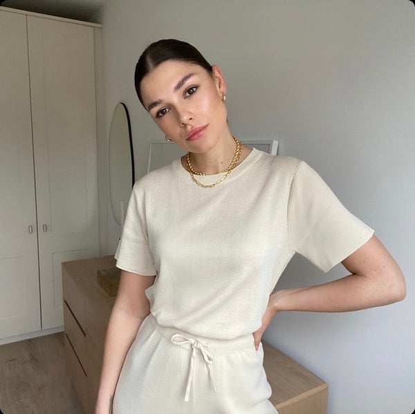 CANNES SILK KNIT CO-ORD VANILLA