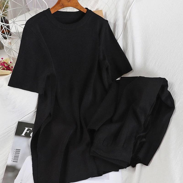 CANNES SILK KNIT CO-ORD BLACK