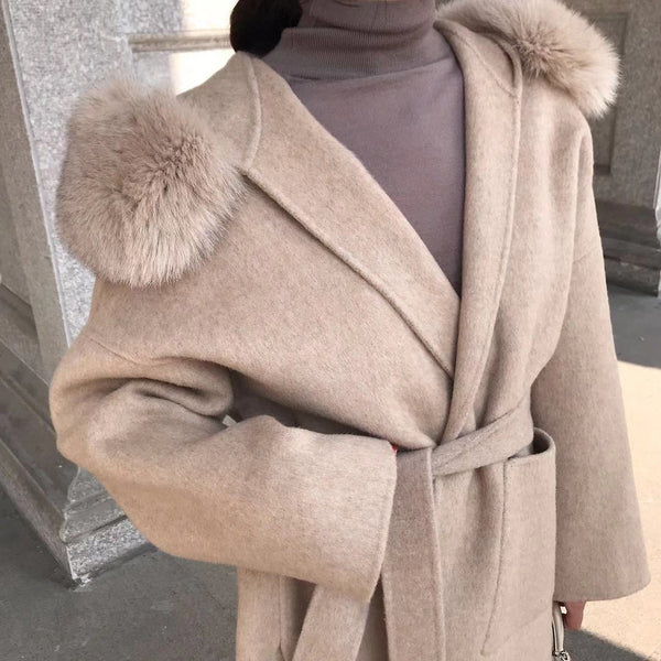 THE BELGRAVIA CASHMERE BLEND COAT BISCUIT
