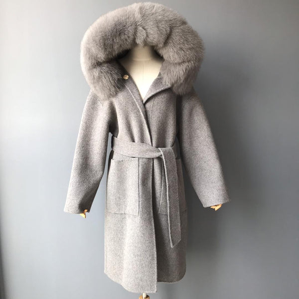 THE BELGRAVIA CASHMERE BLEND COAT LONG - GREY MELANGE