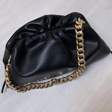 Load image into Gallery viewer, LYDIA LARGE BLACK CHUNKY CHAIN POUCH BAG - PREMIUM LEATHER