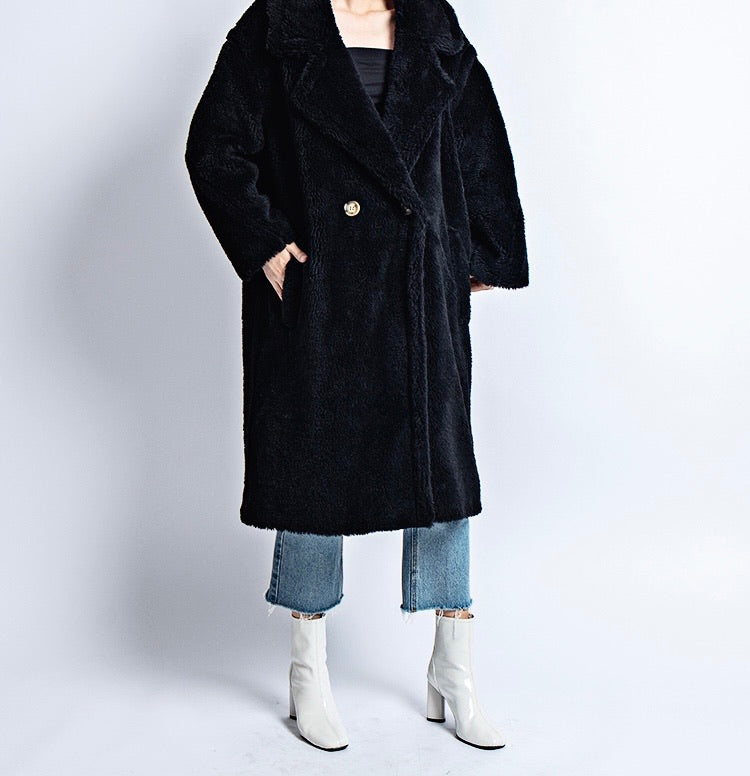 THE MOSCOW 100% WOOL FLEECE TEDDY COAT ONYX