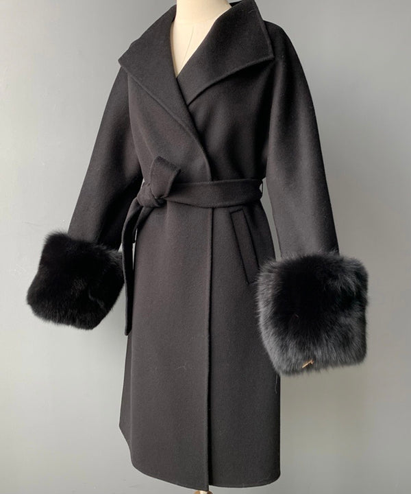 THE MÉRIBEL CASHMERE BLEND FUR CUFF COAT BLACK