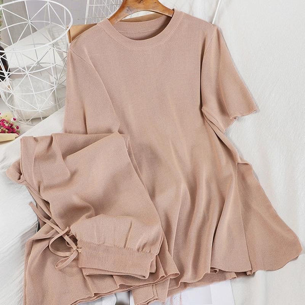 CANNES SILK KNIT CO-ORD BISCUIT