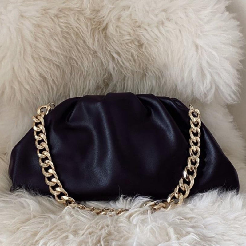 LYDIA LARGE BLACK CHUNKY CHAIN POUCH BAG - PREMIUM LEATHER