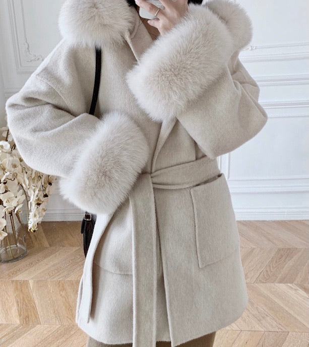 THE BELGRAVIA FUR CUFF CASHMERE BLEND COAT