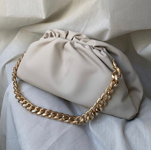 LYDIA LARGE CREAM CHUNKY CHAIN POUCH BAG - PREMIUM LEATHER