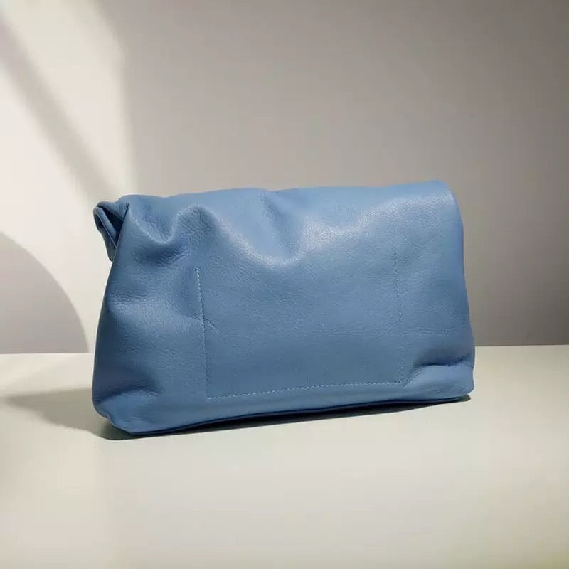 ROLLO CORNFLOWER LUXE LEATHER CLUTCH BAG