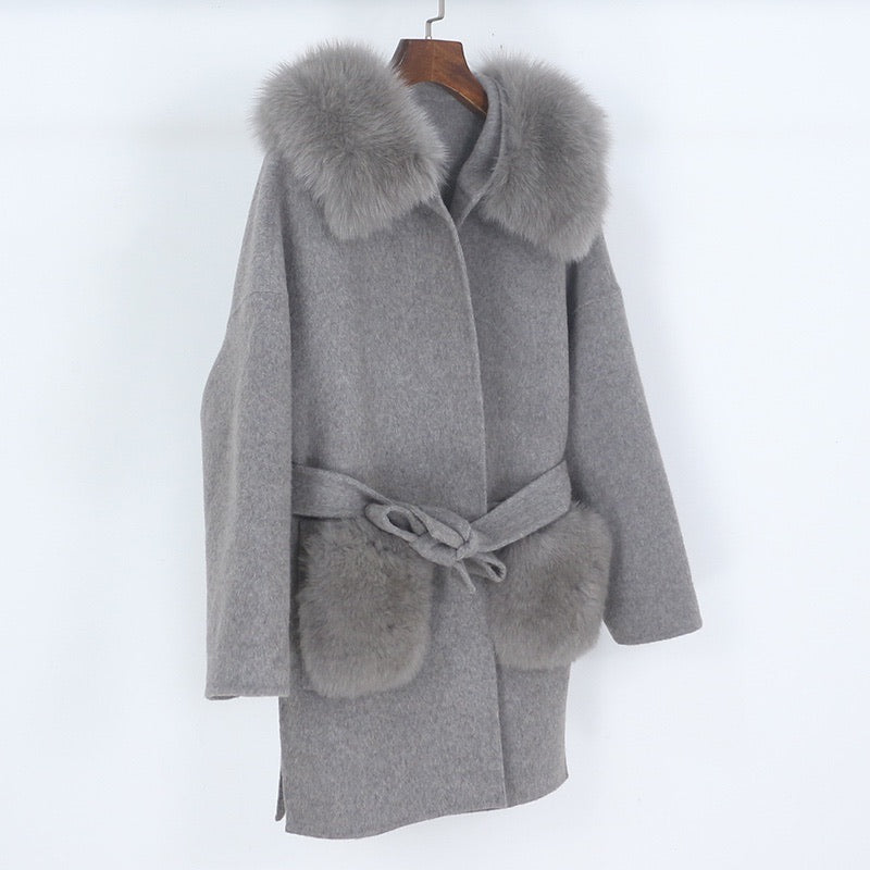 THE BELGRAVIA FUR POCKET CASHMERE BLEND COAT GREY