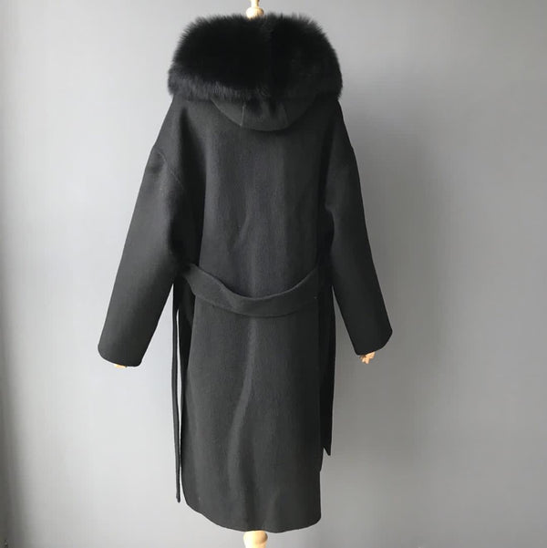 THE BELGRAVIA CASHMERE BLEND COAT LONG - BLACK