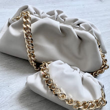 Load image into Gallery viewer, LYDIA LARGE CREAM CHUNKY CHAIN POUCH BAG - PREMIUM LEATHER