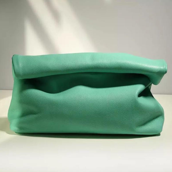 ROLLO MINT LUXE LEATHER CLUTCH BAG