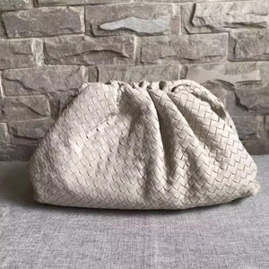 LYDIA WOVEN CREAM POUCH BAG - PREMIUM LEATHER COLLECTION (PREORDER)