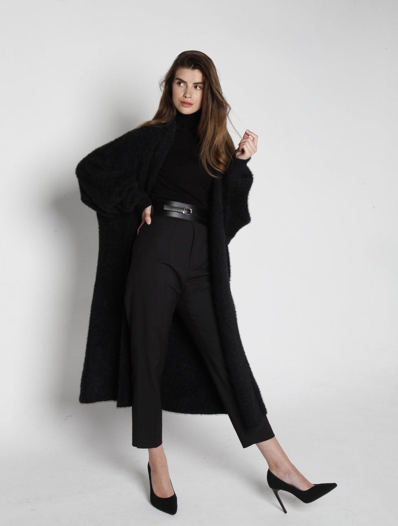 RE-EDITION - MONACO FAUX MINK CASHMERE OVERSIZED CARDIGAN ONYX
