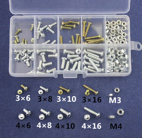 M3/M4 Skruvar och Muttrar - 6mm 8mm 10mm 16mm Kit Screw / Nut Male Female - 160st