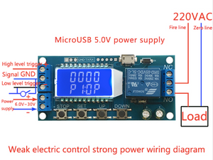 Micro USB Digital LCD Display Time Delay Relay Module DC 6-30V Control Multifunction Timer Switch Trigger Cycle Module