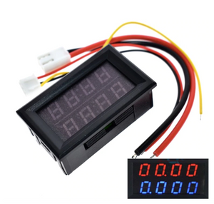 Digital DC Voltmeter Ammeter 4 Bit 5 Wires DC 200V 10A Voltage Current Meter Power Supply Red Blue Dual Display