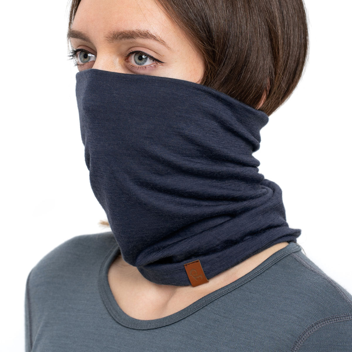 menique Merino wool womens neck gaiter dark blue
