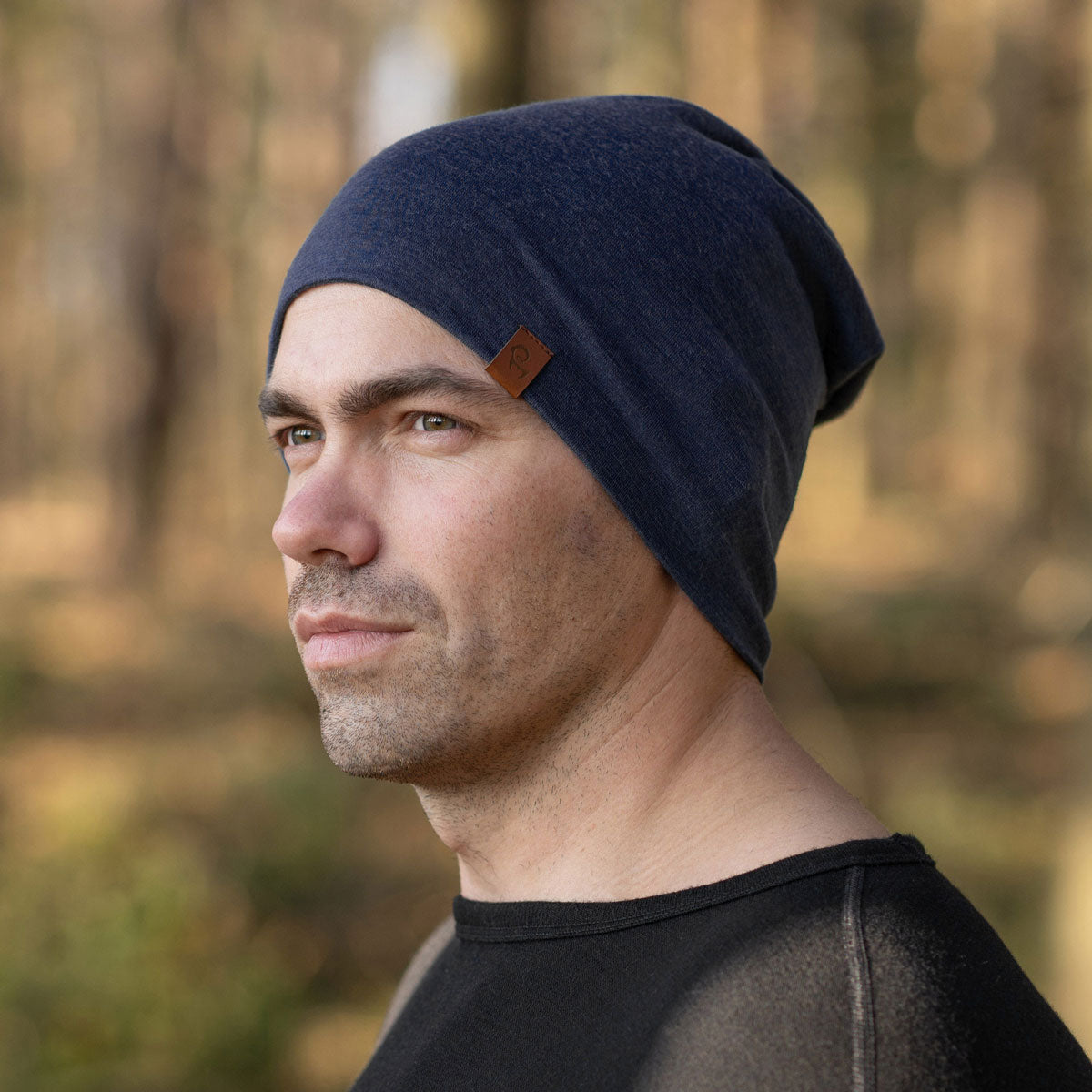 menique men's merino wool beanie hat dark blue