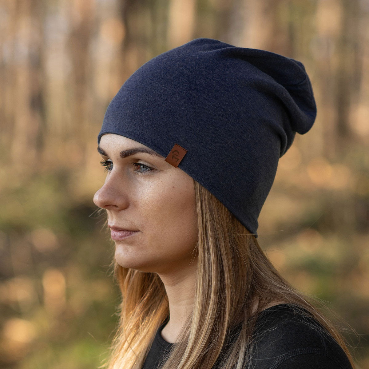 menique merino women's hat beanie dark blue