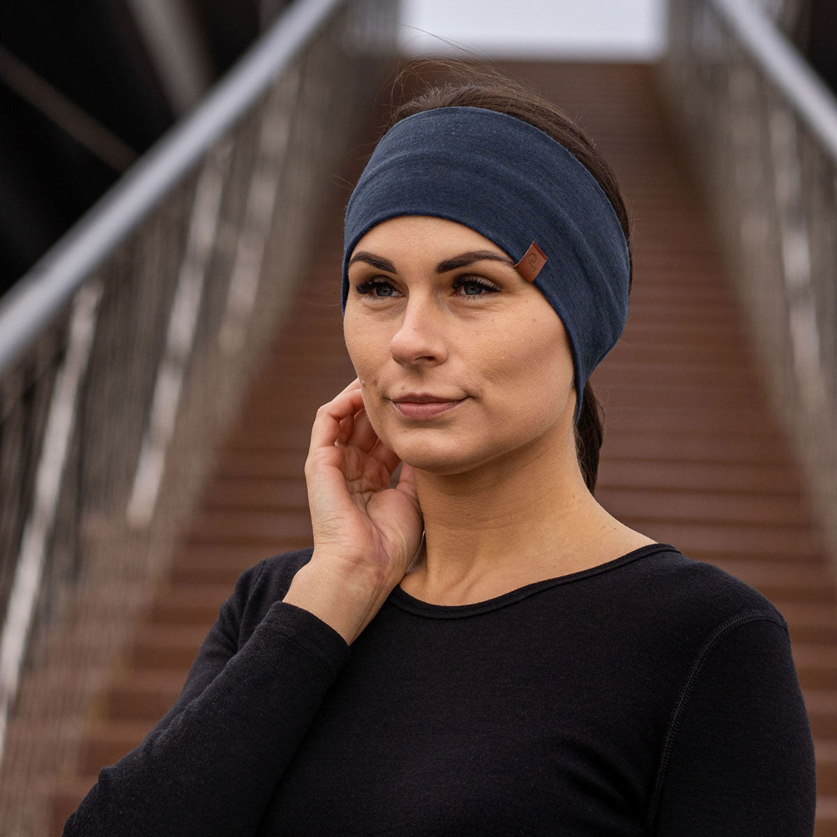 menique Women's Merino Wool Headband Dark blue