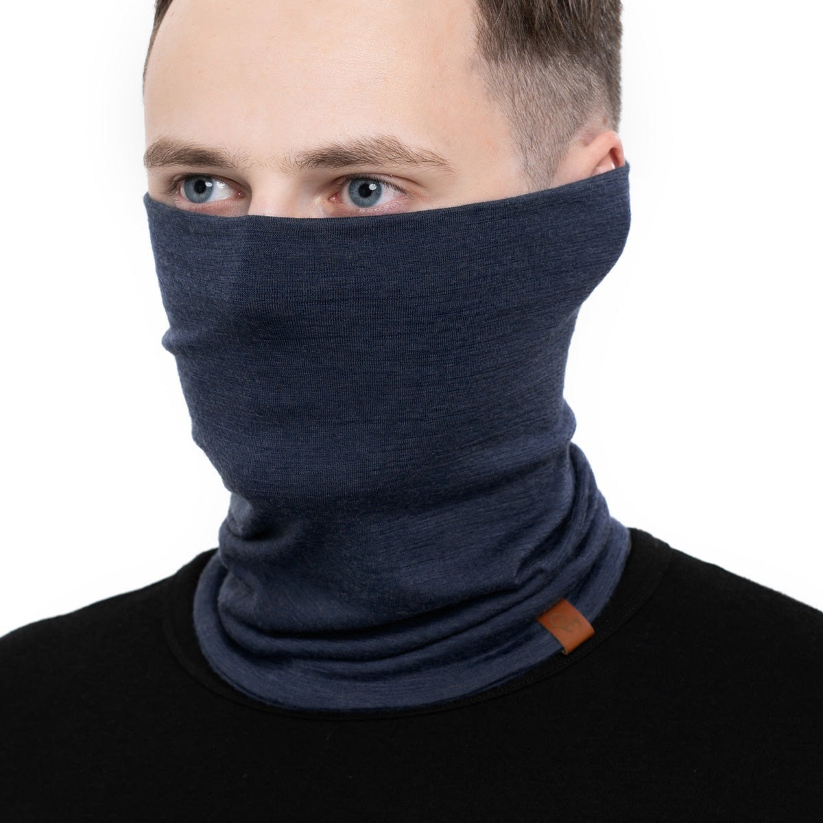 menique Men's Merino Neck Gaiter Dark Blue