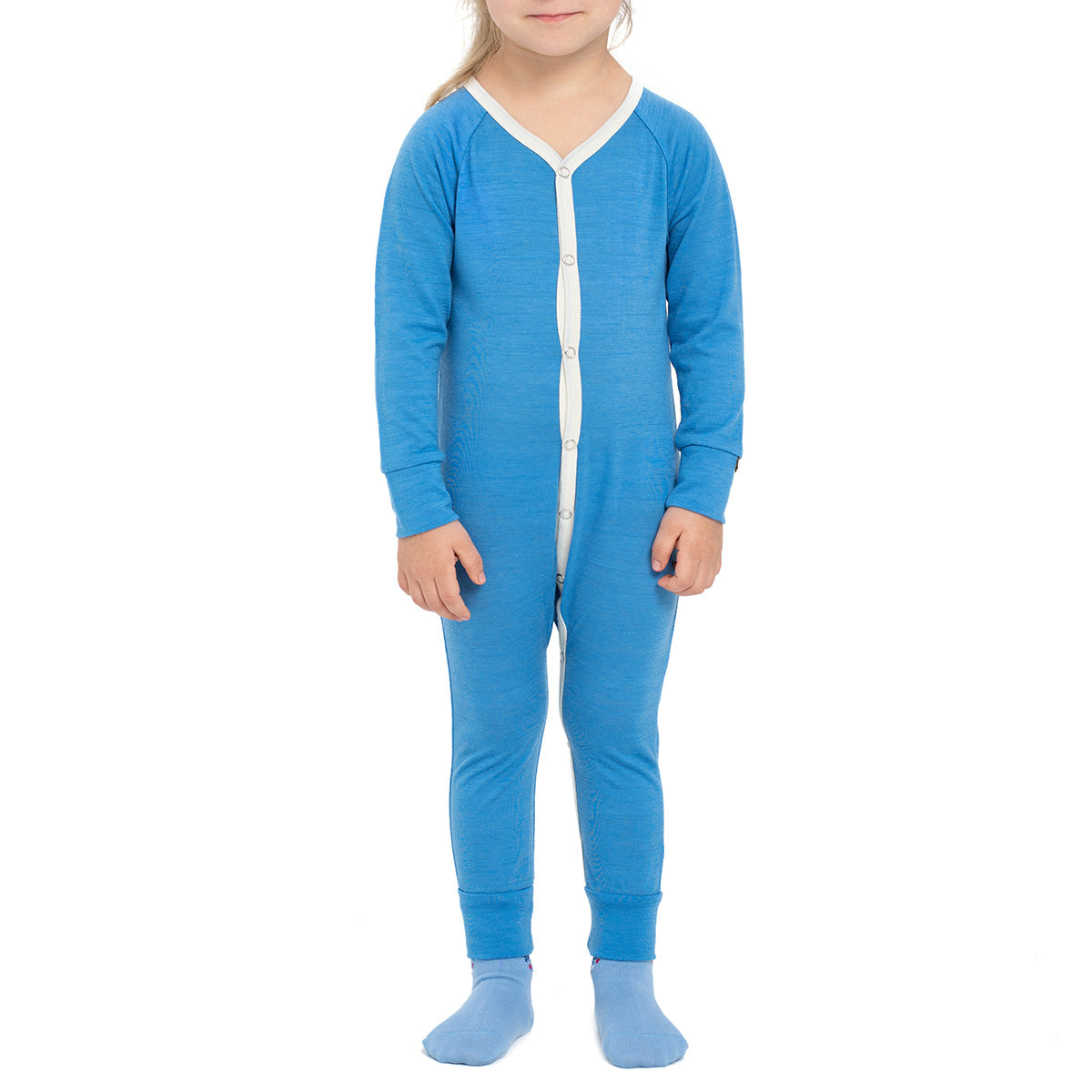 menique Kids' Merino 160 Romper Light Blue Color