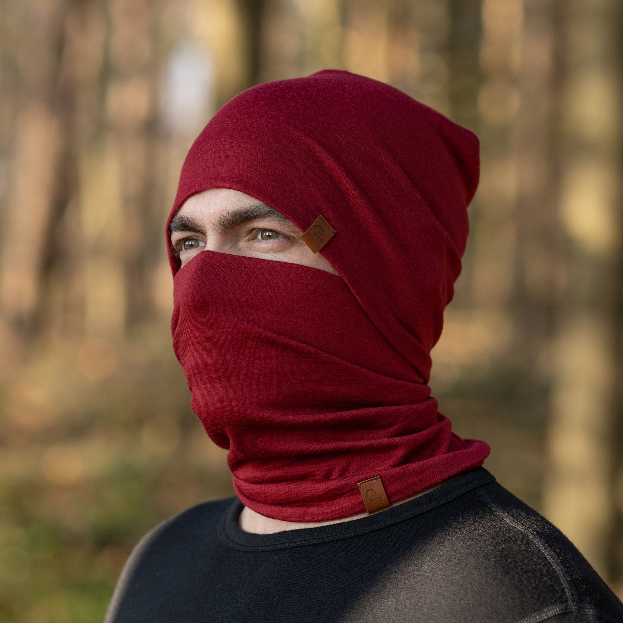 menique Men's Merino Beanie and Gaiter Set Royal Cherry