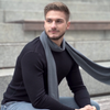 menique merino wool mens scarf perfect gray