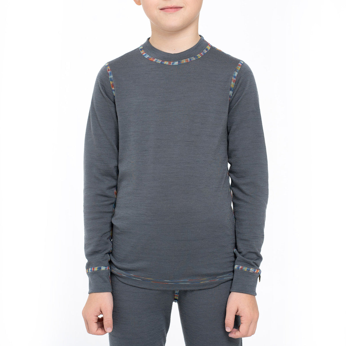 menique Kids' Merino 160 Long Sleeve Crew Perfect Grey Color