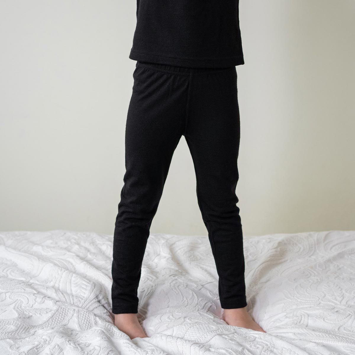 Kids' Pants 160gsm Merino Wool Black