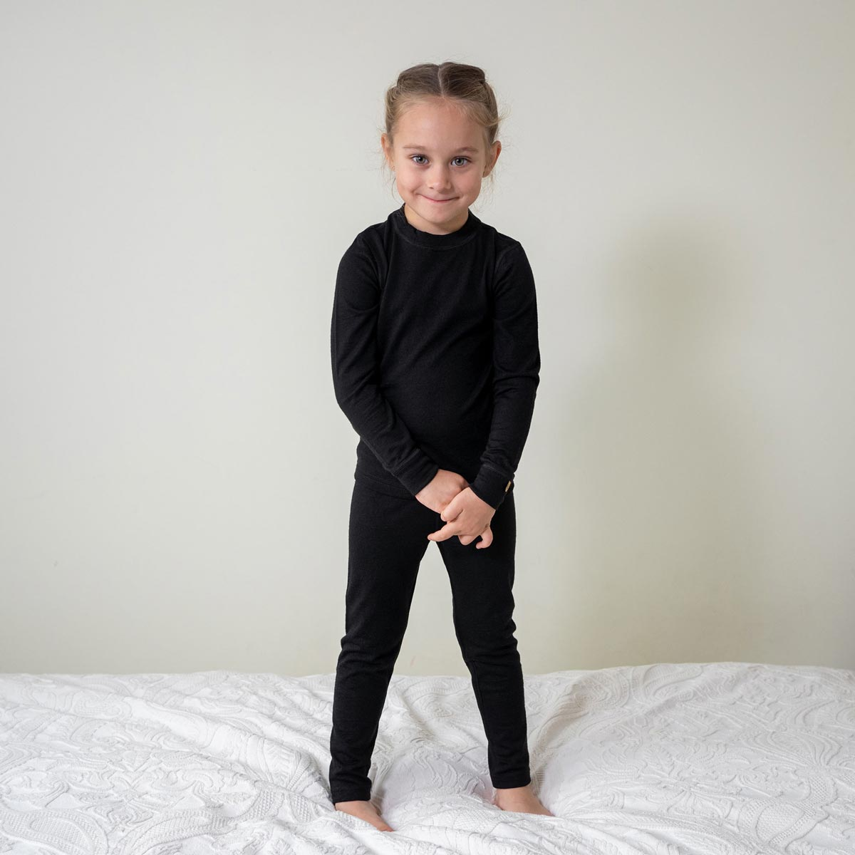 Kids' Long Sleeve Set 160gsm Merino Wool Black