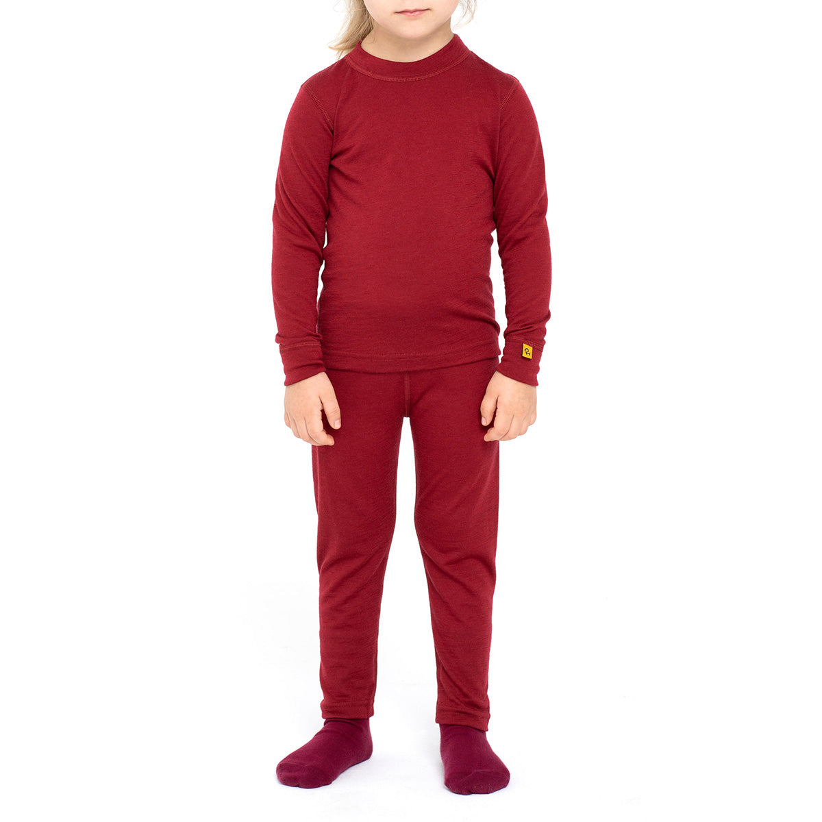 Kids' Long Sleeve Set 160gsm Merino Wool Royal Cherry