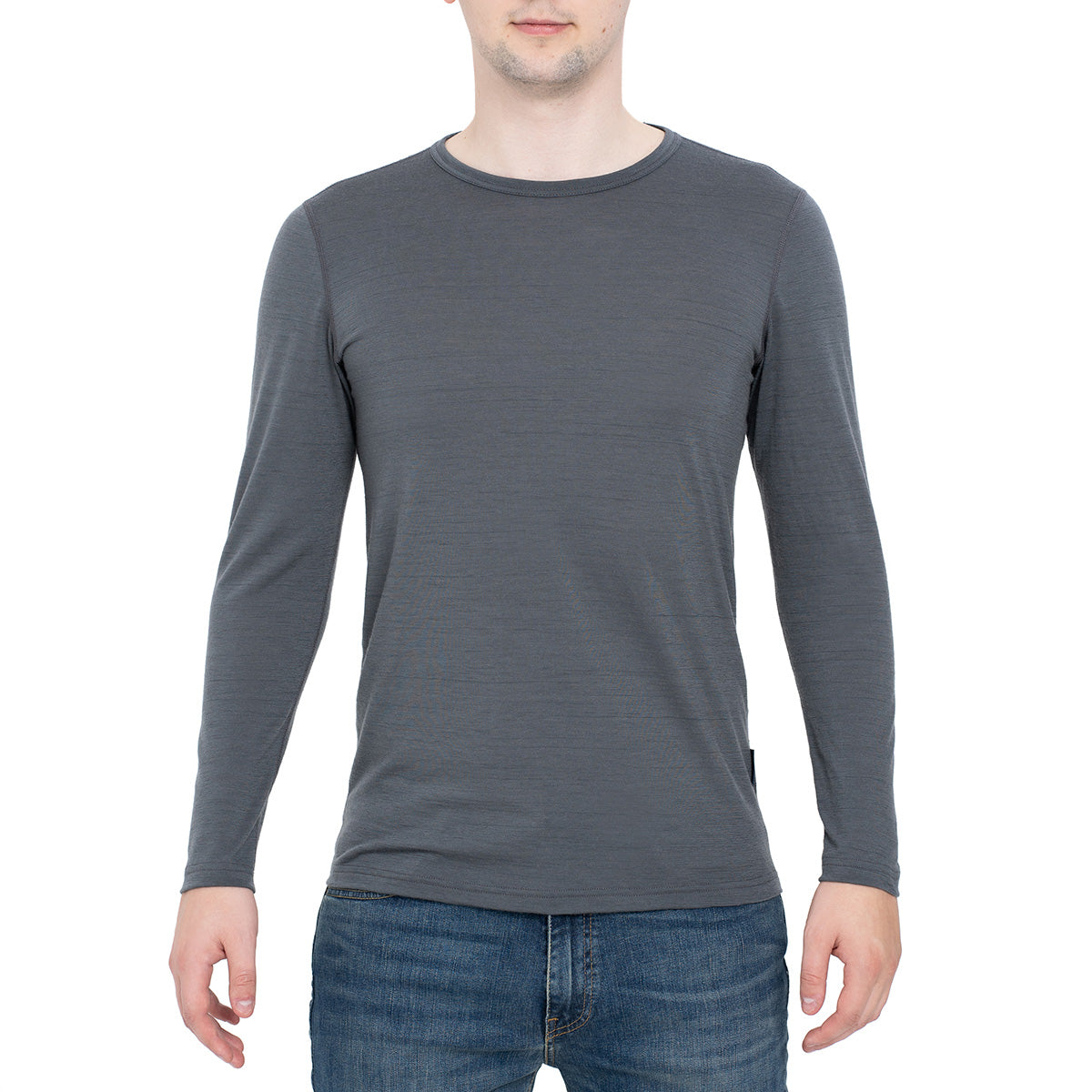 menique Men's Merino 160 Long Sleeve Crew Perfect Grey Color