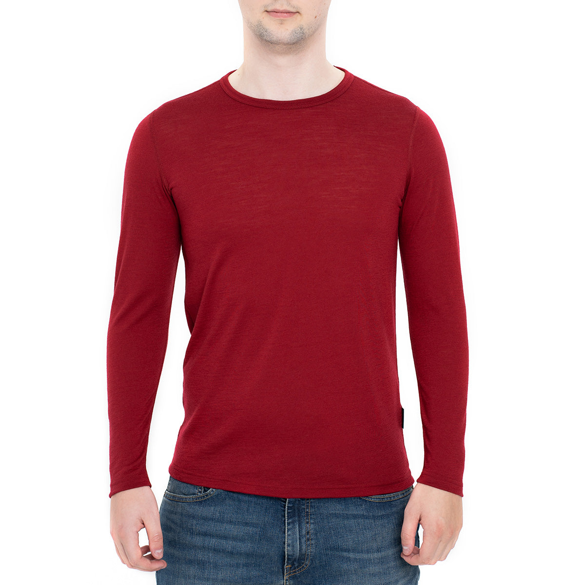 menique Men's Merino 160 Long Sleeve Crew Royal Cherry Color