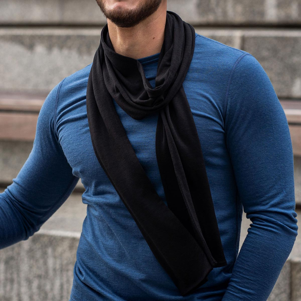 Men's Scarf Black Merino Wool