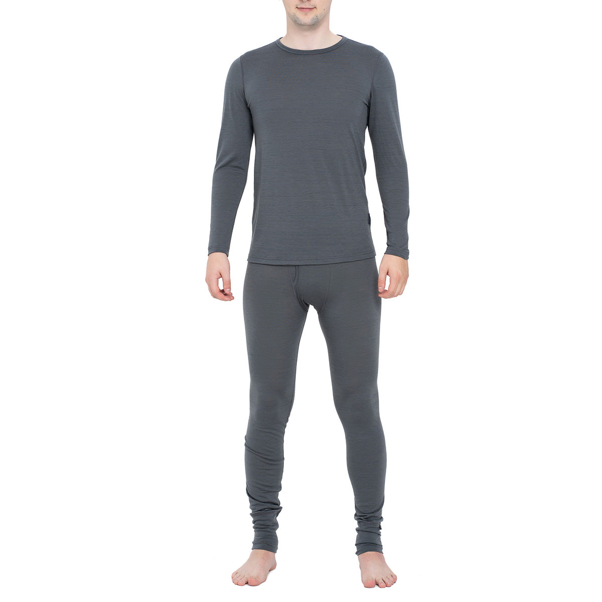 Men's Long Sleeve Set 160gsm Merino Wool Perfect Grey