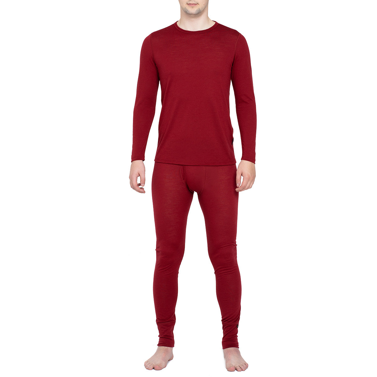 Men's Long Sleeve Set 160gsm Merino Wool Royal Cherry
