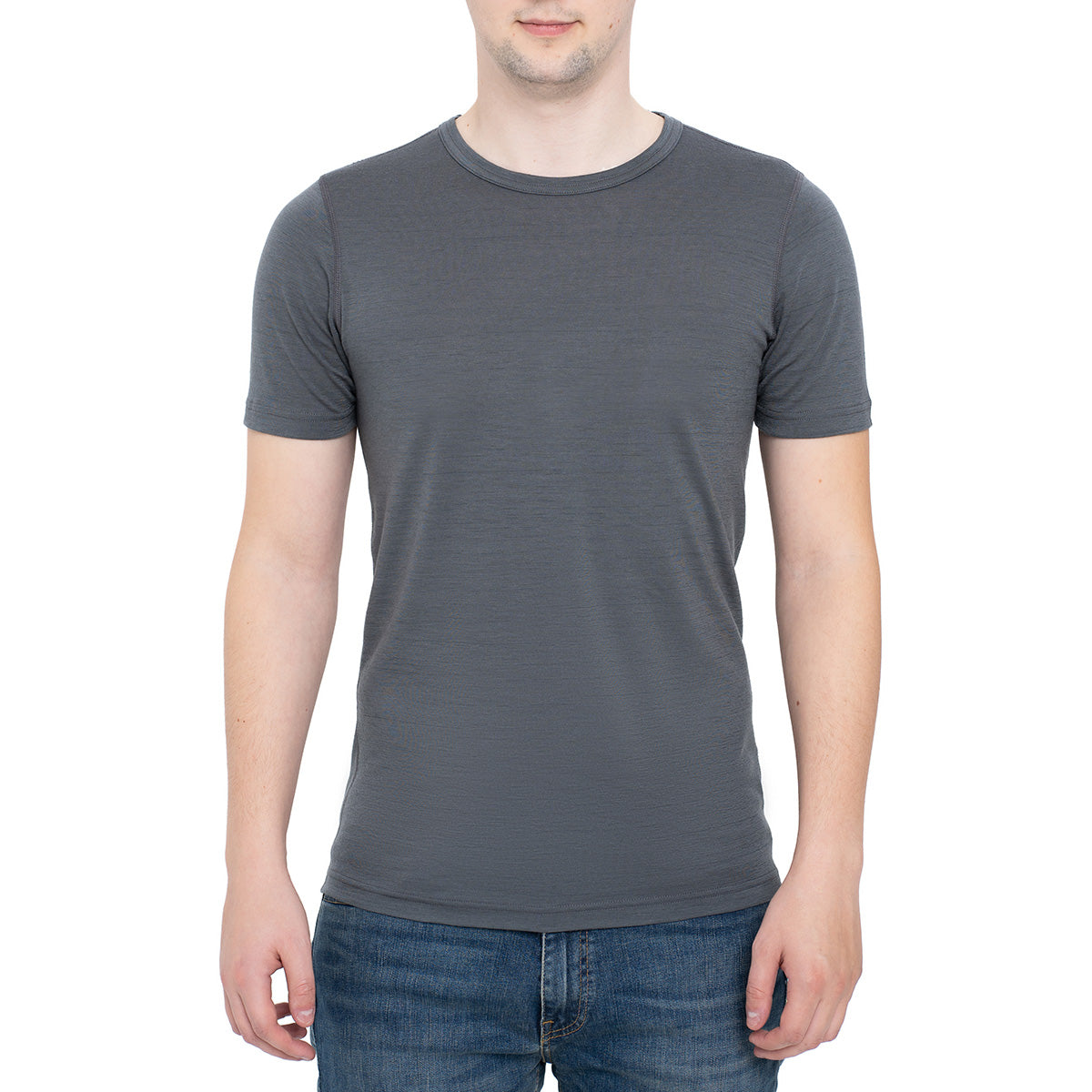 menique Men's Merino 160 Short Sleeve Crew Perfect Grey Color