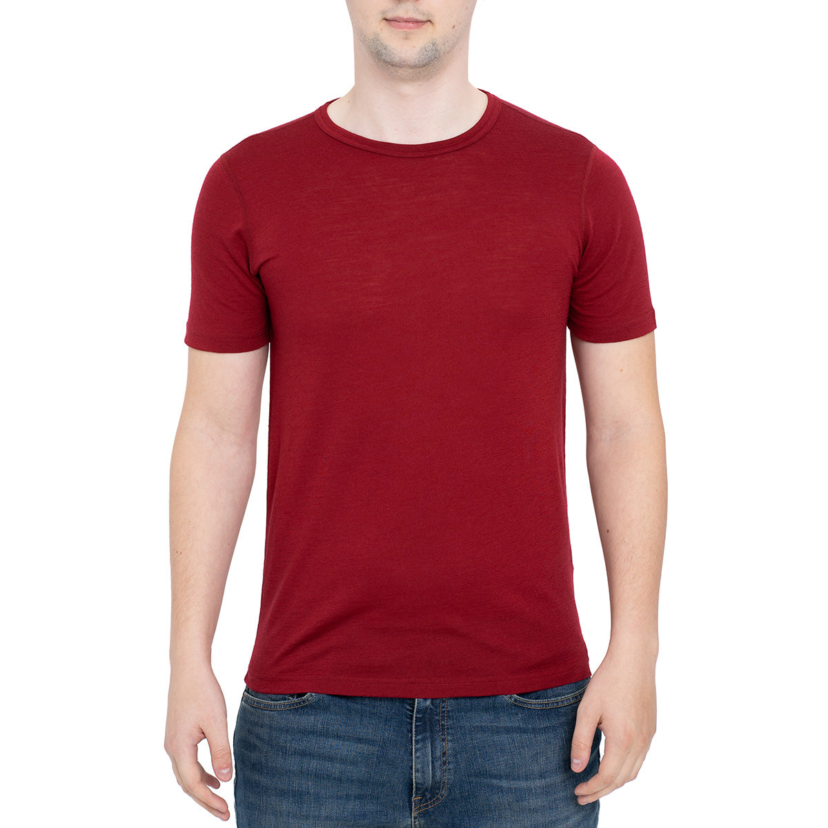 menique Men's Merino 160 Short Sleeve Crew Royal Cherry Color