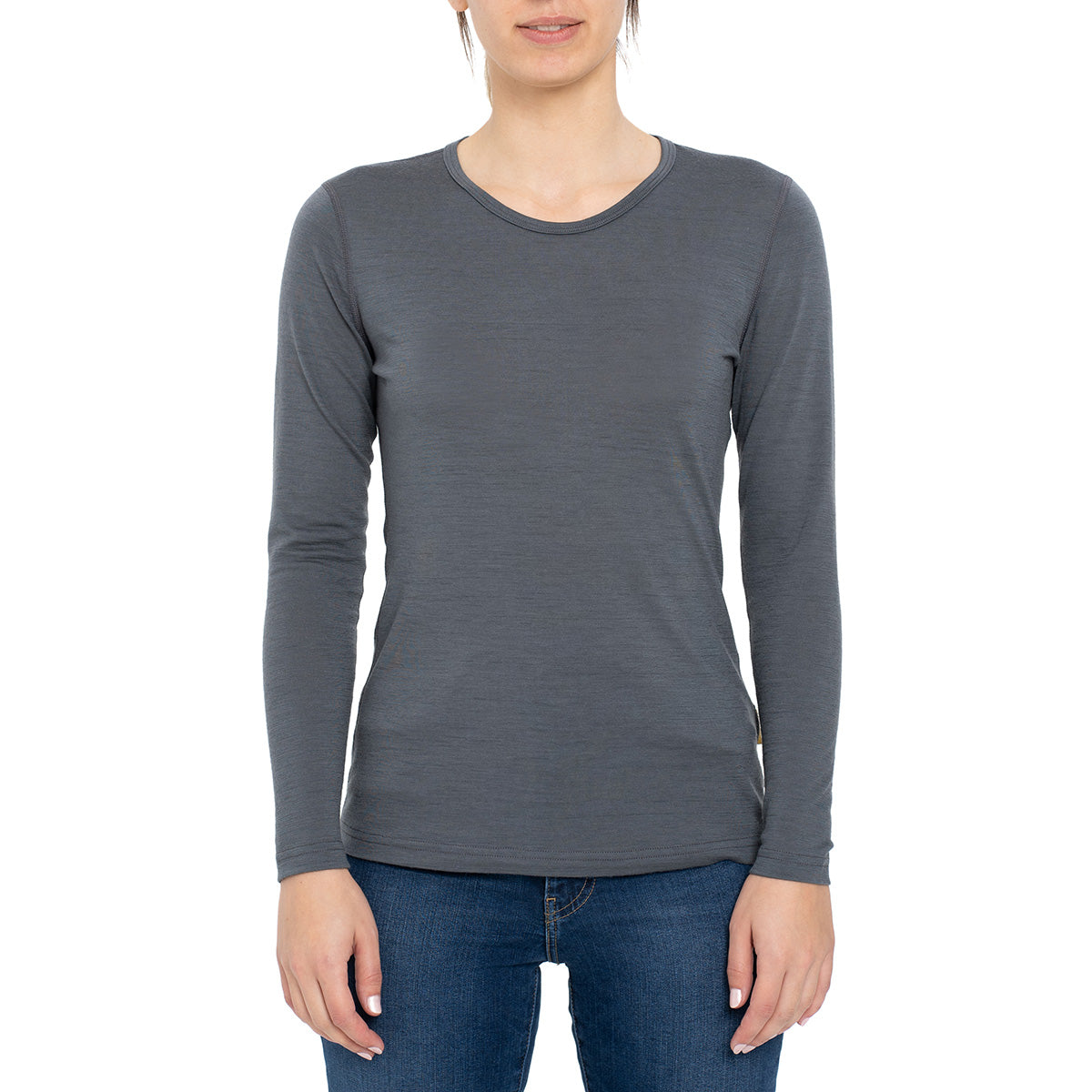 menique Women's Merino 160 Long Sleeve Crew Perfect Grey Color