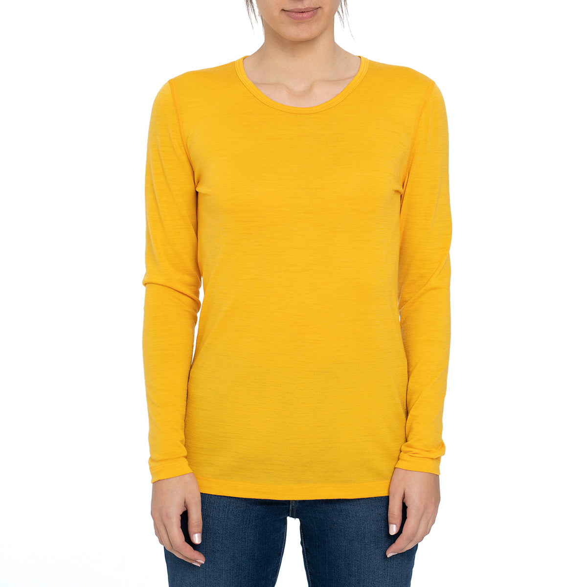 menique Women's Merino 160 Long Sleeve Crew Power Mango Color