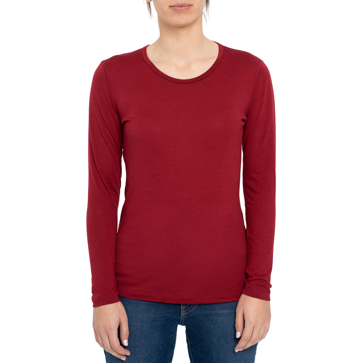 menique Women's Merino 160 Long Sleeve Royal Cherry Color