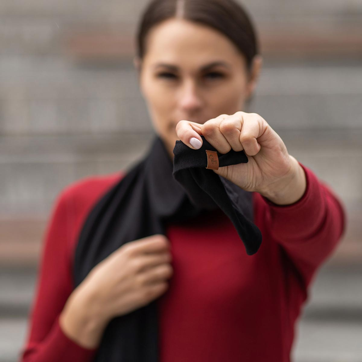 Women's Scarf Black Merino