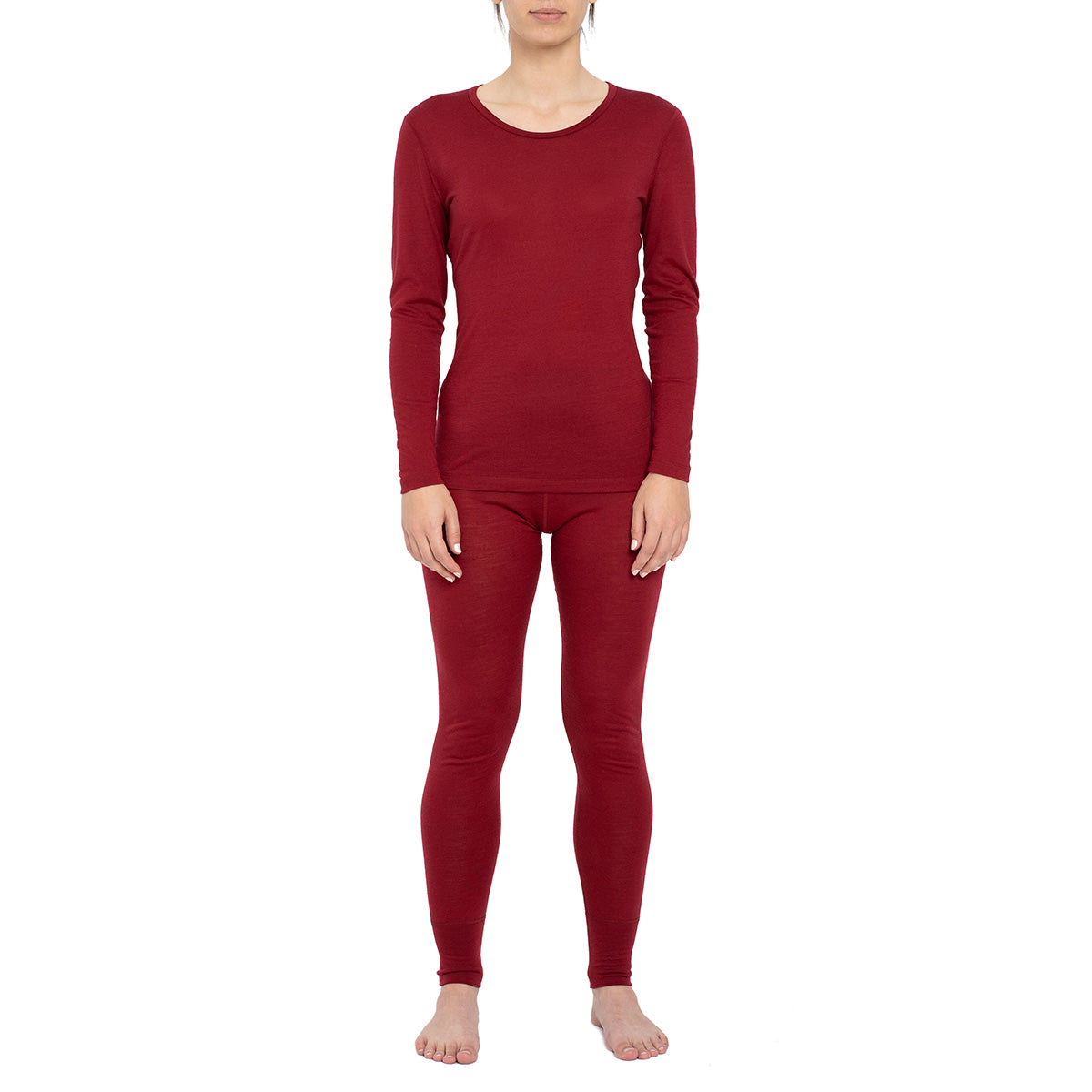 Women's Long Sleeve Set 160gsm Merino Wool Royal Cherry