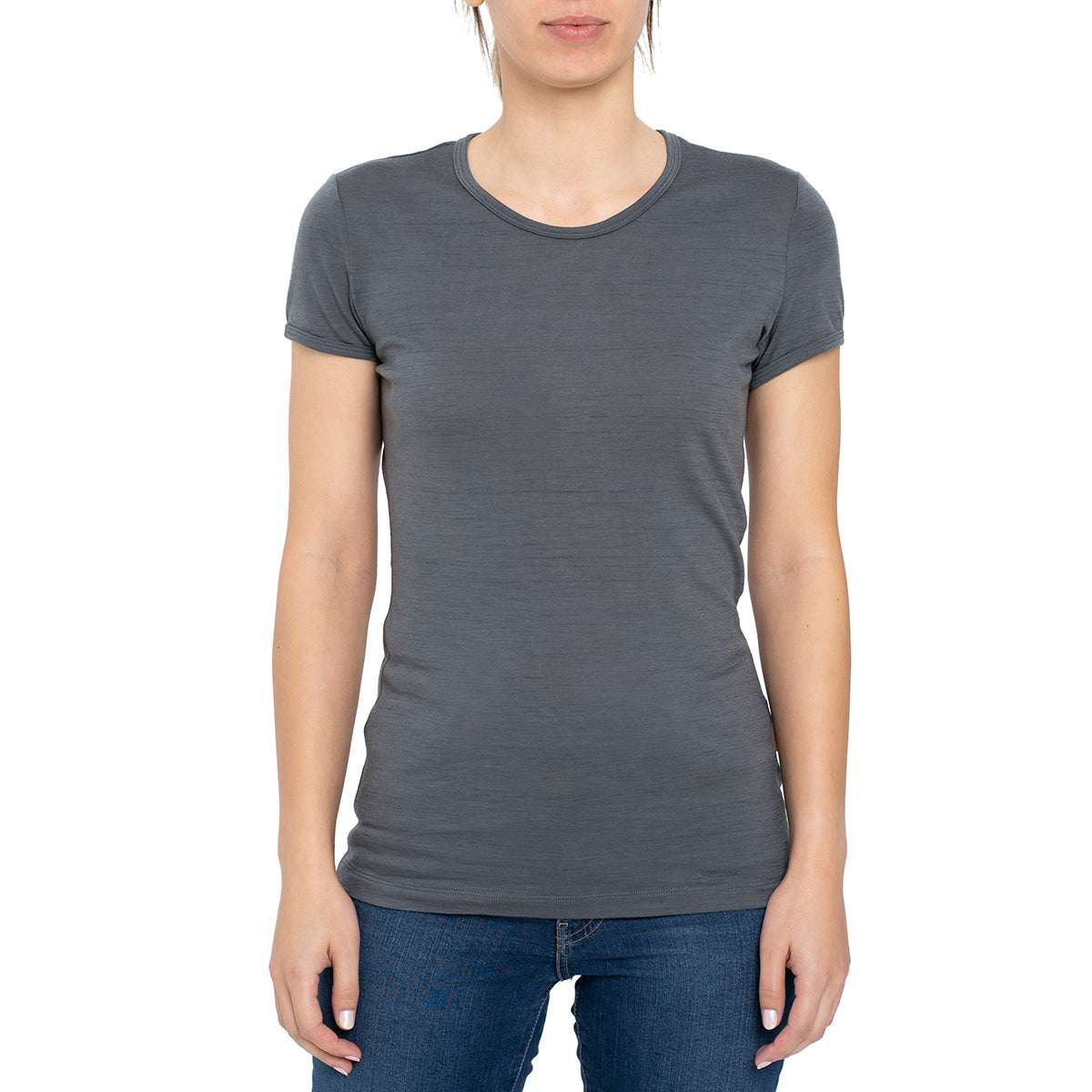 menique Women's Merino 160 Short Sleeve Crew Perfect Grey Color