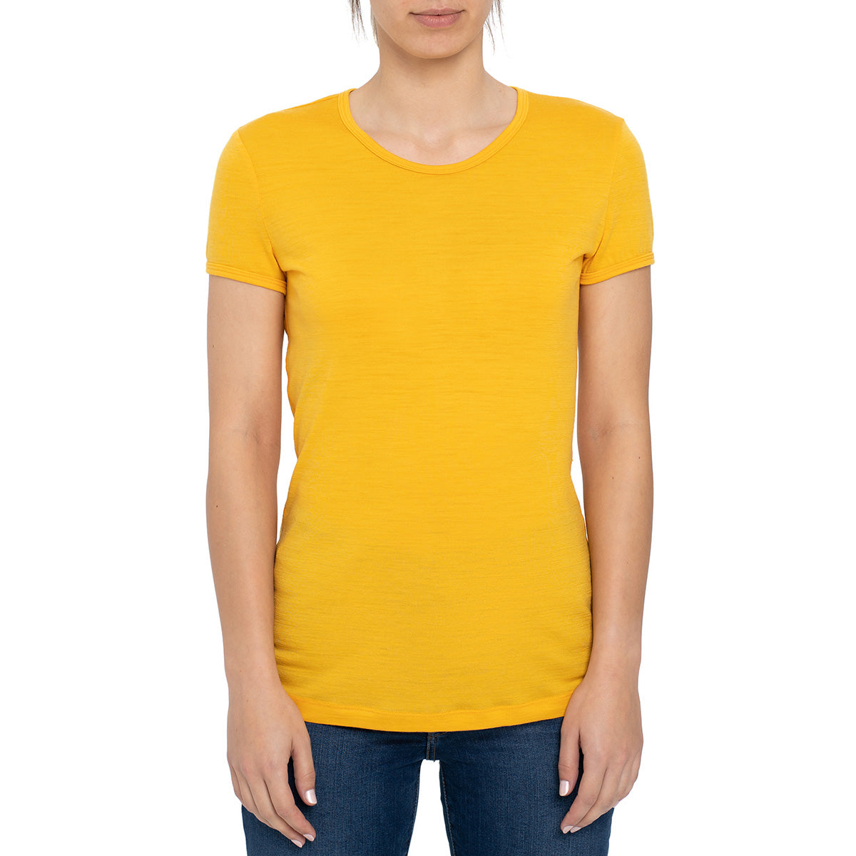 menique Women's Merino 160 Short Sleeve Crew Power Mango Color